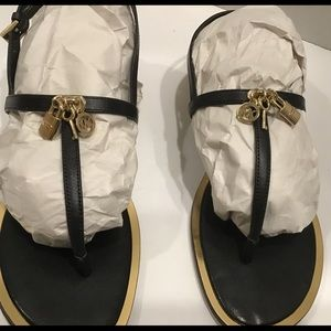 Michael Kors Black and Gold Sandal, Size 10